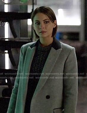 Thea's marled sweater and grey blazer on Arrow