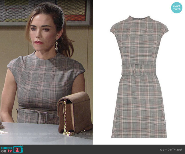 Theory Mod Belt Dress worn by Victoria Newman (Amelia Heinle) on The Young & the Restless