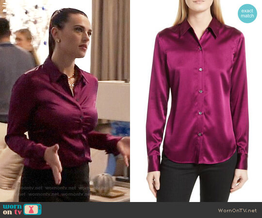 Theory Perfect Fitted Stretch Satin Shirt in Electric Pink worn by Katie McGrath on Supergirl