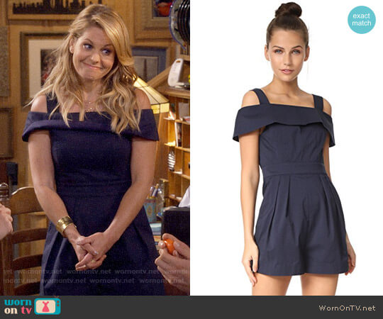 Tibi Seersucker Romper worn by Candace Cameron Bure on Fuller House