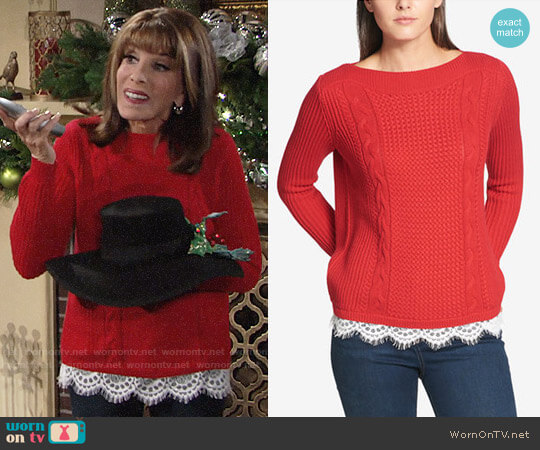 Tommy Hilfiger Lace Trim Sweater worn by Kate Linder on The Young & the Restless