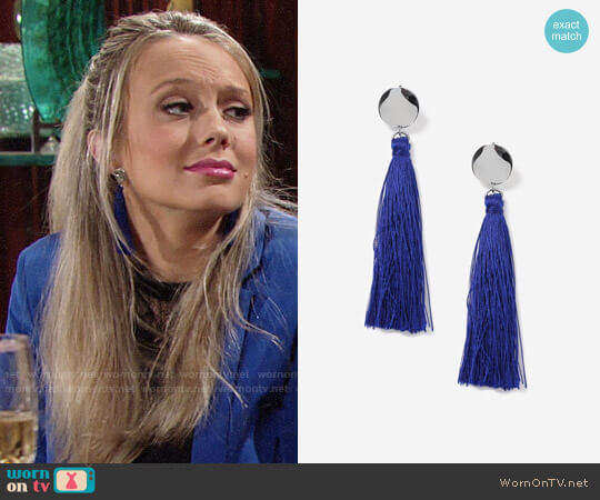 Topshop Blue Stud Tassel Drop Earrings worn by Abby Newman (Melissa Ordway) on The Young & the Restless