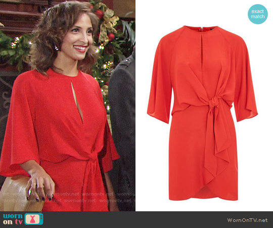 Topshop Tie Front Mini Dress worn by Christel Khalil on The Young & the Restless