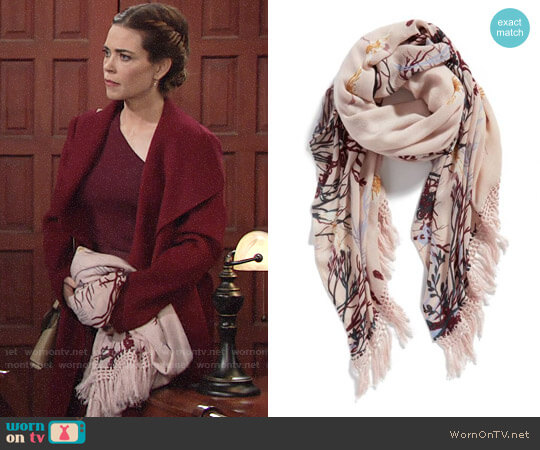 Treasure & Bond Foliage Forest Fringe Scarf worn by Amelia Heinle on The Young & the Restless