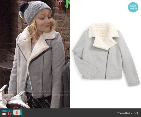 Tucker + Tate Knit Moto Jacket with Faux Fur Lining worn by Alyvia Alyn Lind on The Young & the Restless