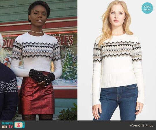 Autumn Cashmere Fair Isle Cashmere & Wool-Blend Sweater worn by Josie McCoy (Ashleigh Murray) on Riverdale