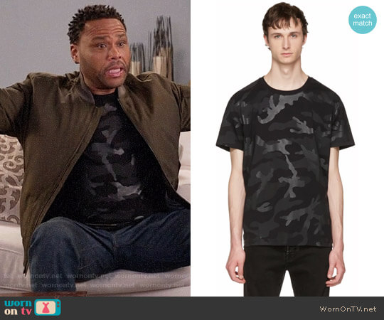 Valentino Black Camo T-Shirt worn by Anthony Anderson on Blackish