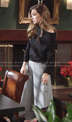 Victoria's grey midi skirt with side buttons and black off-shoulder top  on The Young and the Restless