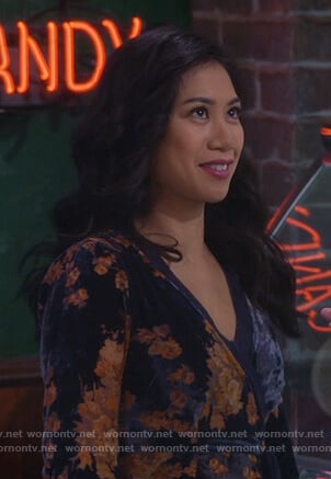Eve's navy floral velvet wrap dress on 9JKL