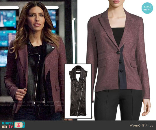 Veronica Beard Sterling Placket Herringbone Tailored Jacket with Leather Dickey worn by Dinah Drake (Juliana Harkavy) on Arrow