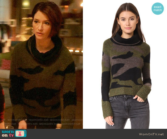 Veronica Beard Davis Camo Sweater worn by Chyler Leigh on Supergirl