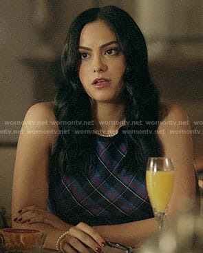 Veronica's blue plaid sleeveless top on Riverdale