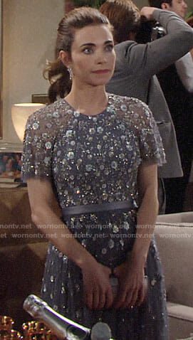 Victoria's blue embellished NYE dress on The Young and the Restless