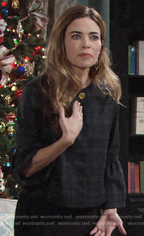 Victoria's plaid bell-sleeve jacket on The Young and the Restless