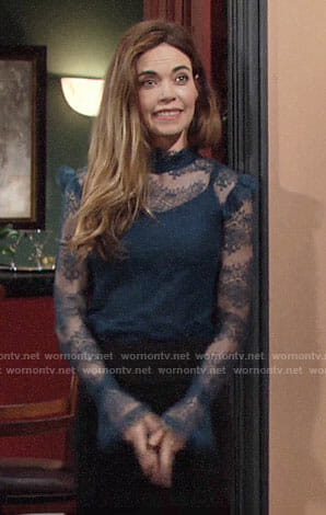 Victoria's teal blue lace top on The Young and the Restless