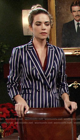Victoria's blue striped blazer on The Young and the Restless