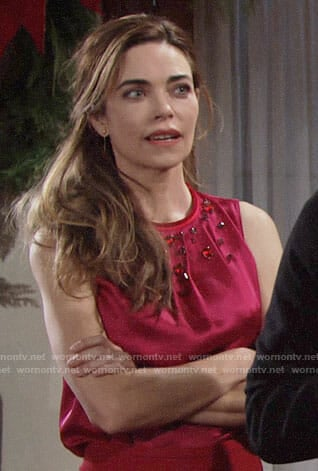 Victoria's pink embellished top on The Young and the Restless