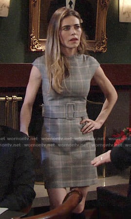 Victoria's plaid belted dress on The Young and the Restless