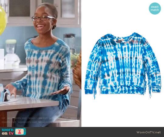 Vintage Havana Girls' Tie Dye Fringe Sweatshirt worn by Marsai Martin on Blackish