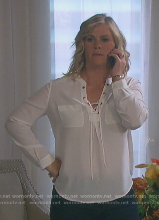 Sami's white lace-up long sleeve top on Days of our Lives
