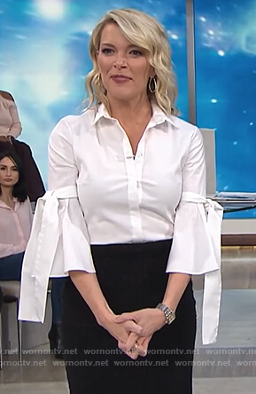 Megyn's white bell sleeve top on Megyn Kelly Today
