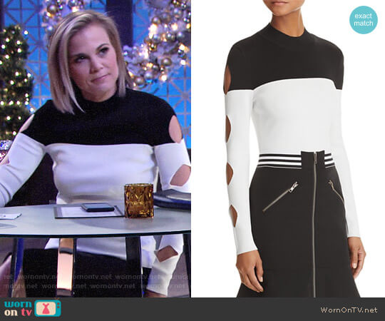 Yigal x Aqua Cutout Color-Block Sweater worn by Gina Tognoni on The Young & the Restless