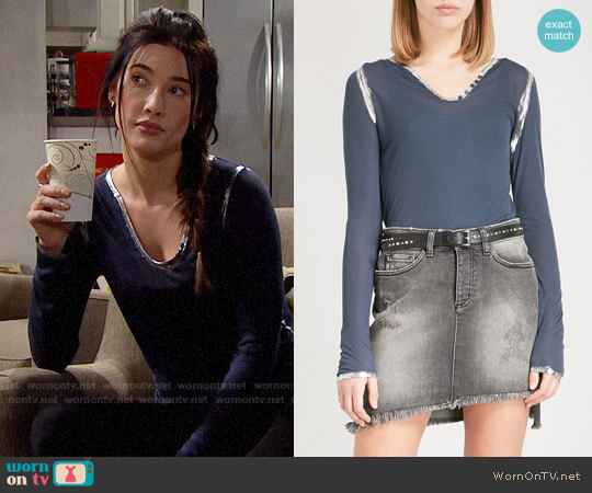 Zadig & Voltaire Tunisien Jersey Top worn by Jacqueline MacInnes Wood on The Bold & the Beautiful