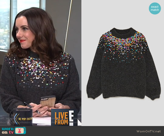 Sweater with Coloured Sequins by Zara worn by Melanie Bromley  on E! News