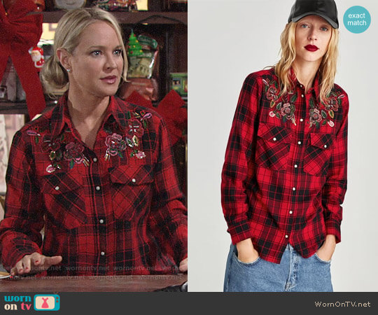 Zara Checked Shirt with Bejewelled Applique worn by Sharon Case on The Young & the Restless