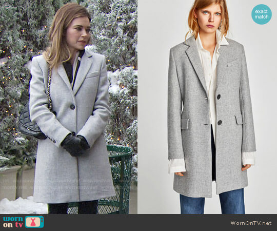 Zara Coat with Shoulder Pads worn by Amelia Heinle on The Young & the Restless