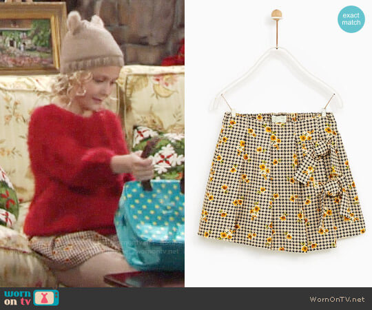 Zara Houndstooth Skirt with Bows worn by Faith Newman (Alyvia Alyn Lind) on The Young & the Restless