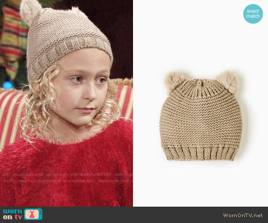 Zara Knit Hat with Furry Ears worn by Faith Newman (Alyvia Alyn Lind) on The Young & the Restless