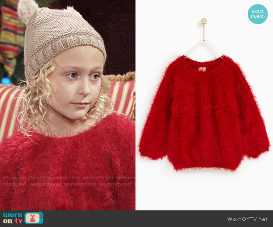 Zara Furry Sweater worn by Faith Newman (Alyvia Alyn Lind) on The Young & the Restless