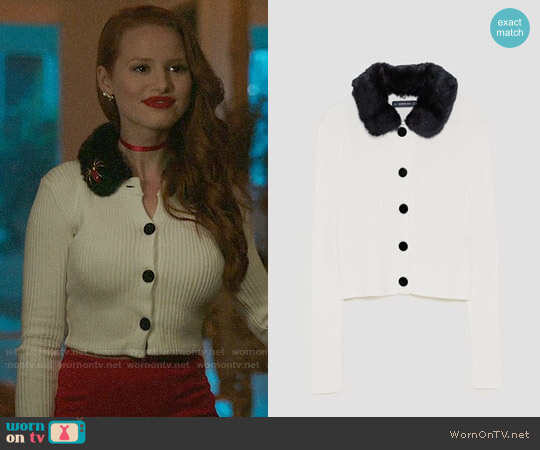 Zara Ribbed Cardigan with Texture worn by Madelaine Petsch on Riverdale
