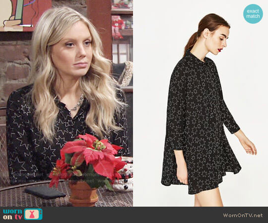Zara Star Print Dress worn by Melissa Ordway on The Young & the Restless