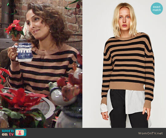Zara Striped Sweater with Round Neckline worn by Lily Winters (Christel Khalil) on The Young & the Restless