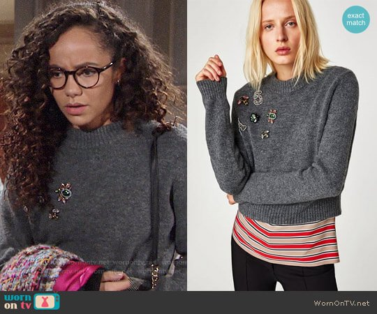 Zara Sweater with Appliques worn by Lexie Stevenson on The Young & the Restless