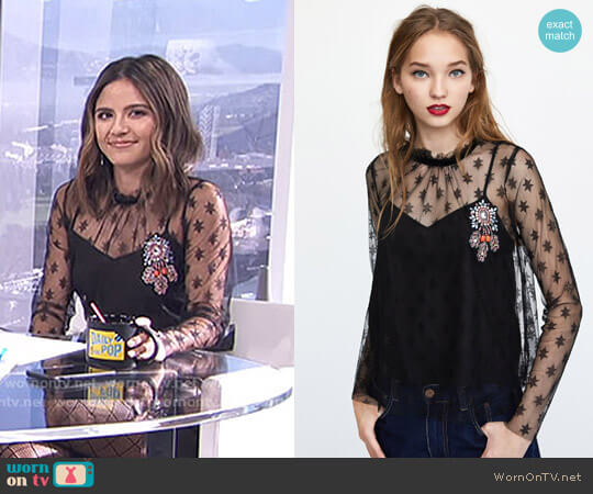 Tulle Top with Stars by Zara worn by Erin Lim on E! News