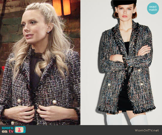 Zara Tweed Jacket with Faux Pearl Buttons worn by Melissa Ordway on The Young & the Restless