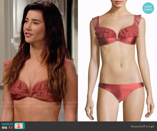 Zimmermann Corsair Shoulder Frill Bikini Set in Vintage Rose worn by Steffy Forrester (Jacqueline MacInnes Wood) on The Bold & the Beautiful
