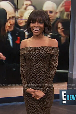 Zuri's metallic off-shoulder dress on E! News