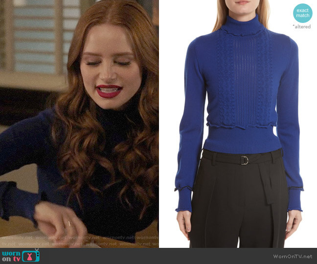 3.1 Phillip Lim Puffy Cable Turtleneck Sweater worn by Cheryl Blossom (Madelaine Petsch) on Riverdale