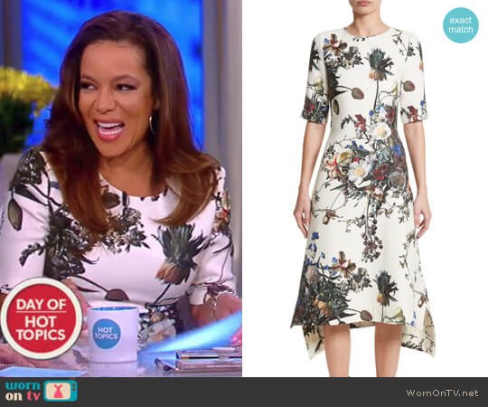 Floral Print Trapeze Dress by Adam Lippes worn by Sunny Hostin  on The View