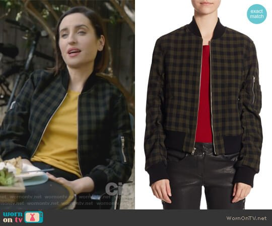 Andrew Wool Bomber Jacket by ALC worn by Zoe Lister-Jones on Life in Pieces