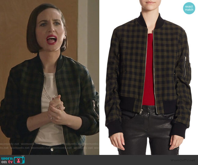 Andrew Wool Bomber Jacket by ALC worn by Jennifer Short (Zoe Lister-Jones) on Life in Pieces
