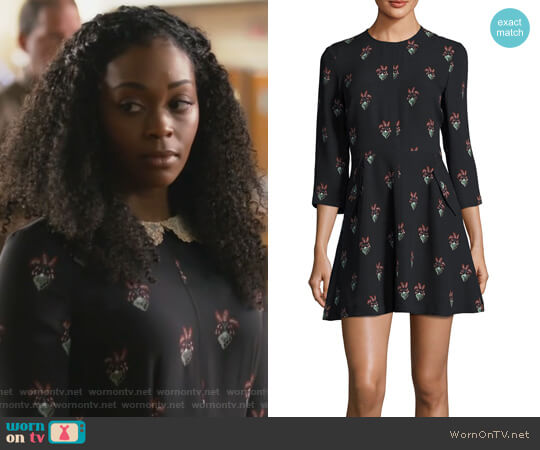 Terry 3/4 Sleeve Printed Silk Mini Dress by ALC worn by Anissa Pierce (Nafessa Williams) on Black Lightning