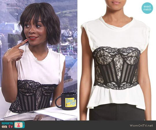 Cotton Top with Lace Bustier by Alexander Wang worn by Zuri Hall on E! News