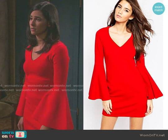 60s Shift Dress with Flared Sleeves in Ponte by Asos worn by Gabi Hernandez (Camila Banus) on Days of our Lives