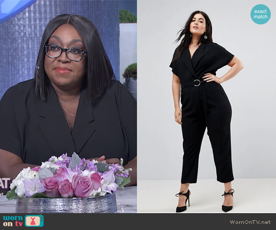 Plus Belted Wrap Front Jumpsuit by River Island  worn by Loni Love  on The Real