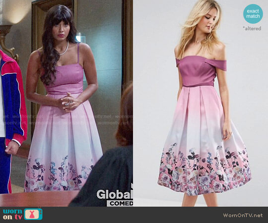 ASOS TALL SALON Floral Ombre Midi Prom Dress worn by Jameela Jamil on The Good Place
